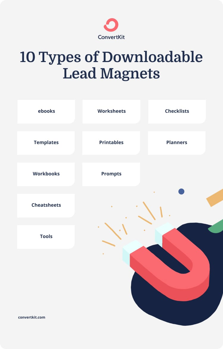 These are the lead magnets suggested by ConverKit that we think you should consider when giving your wordpress website an annual review and update