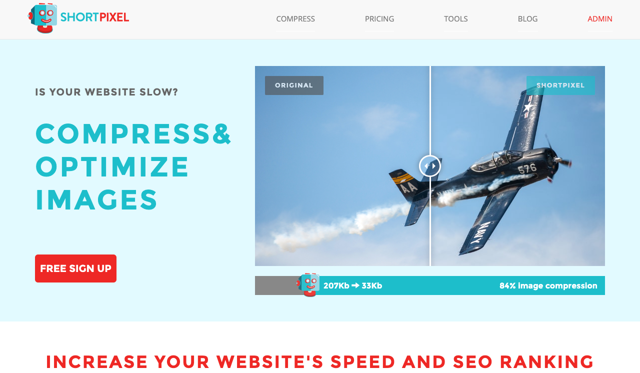 a screen grab of the homepage of shortpixel - a wordpress plugin we recommend for optimizing images.
