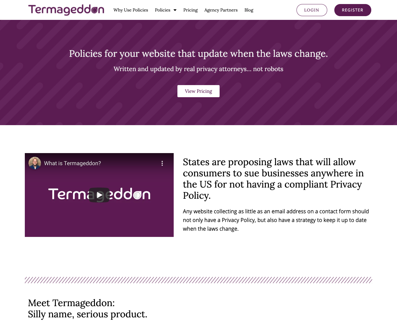 the homepage of Termageddon a policy generator service for privacy and terms of use policies.